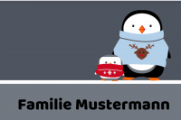 Winterfussmatte mit zwei Pinguinen