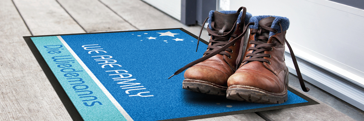 Personalized blue doormat with boots